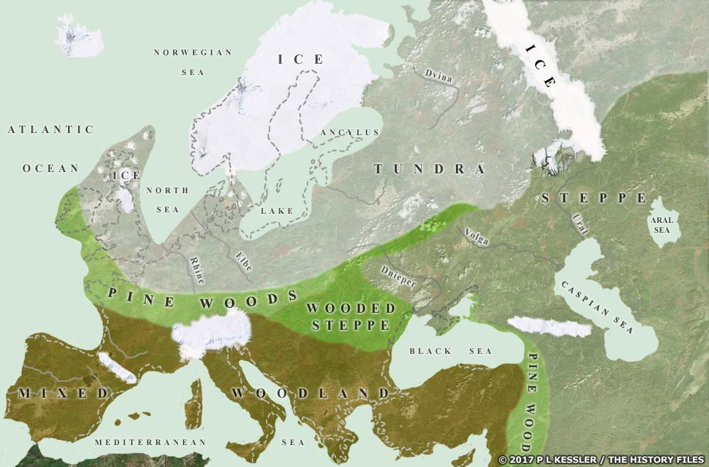 Biomes: Map of Europe during the Ice Age reflecting Refugia