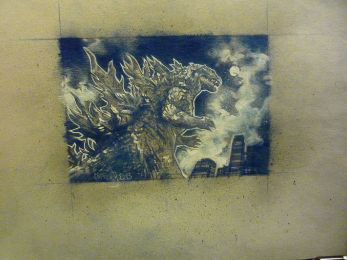 Godzilla sketch card, work in progress, © 2013 Jeff Lafferty