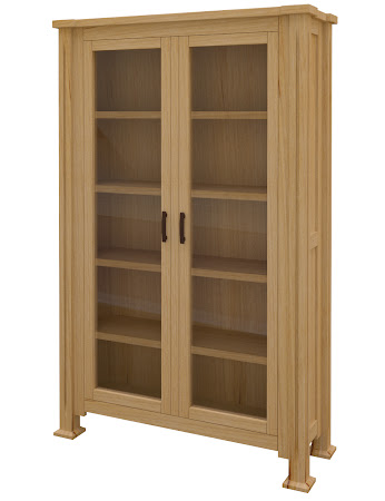 Sacramento Glass Door Bookshelf in Ginger Maple