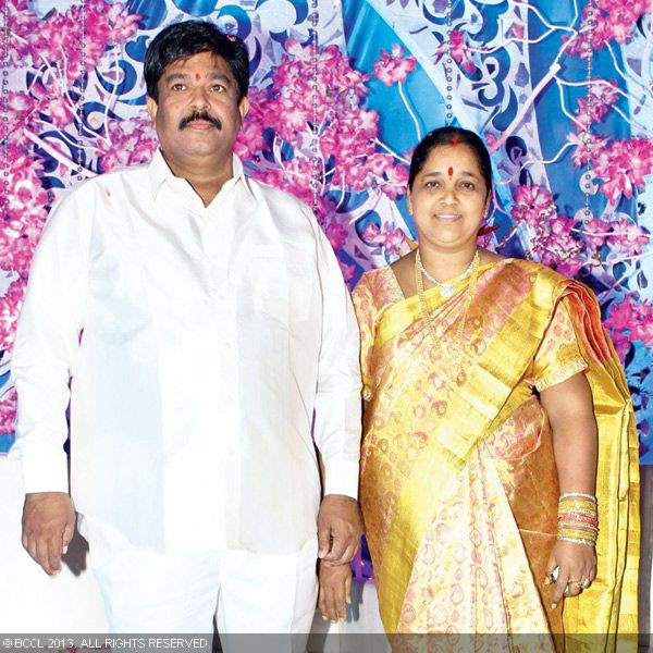 Chinna Srisailam and Kasturi Yadav clicked on stage during the wedding reception party of Naveen and Varsha, held recently in Hyderabad.