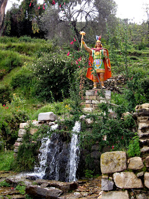 Inca garden on the Isla del Sol on Lake Titicaca in Bolivia