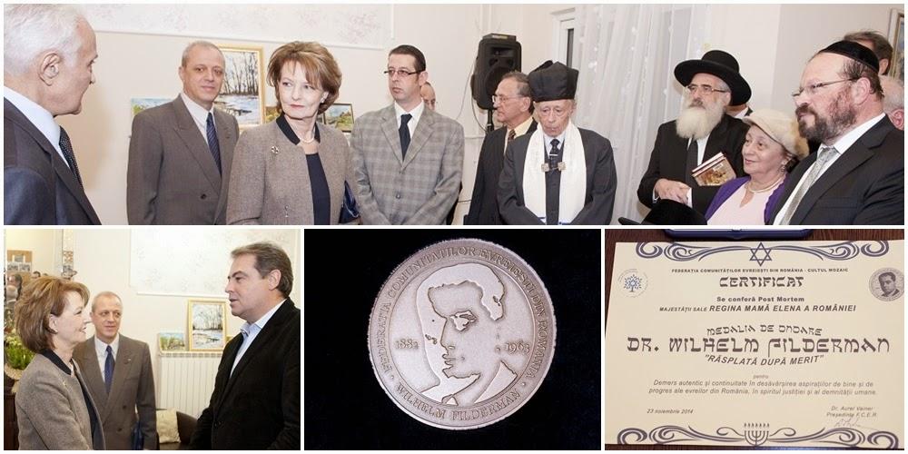 Medalia de Onoare Wilhelm Filderman acordată post-mortem Reginei Mamă Elena