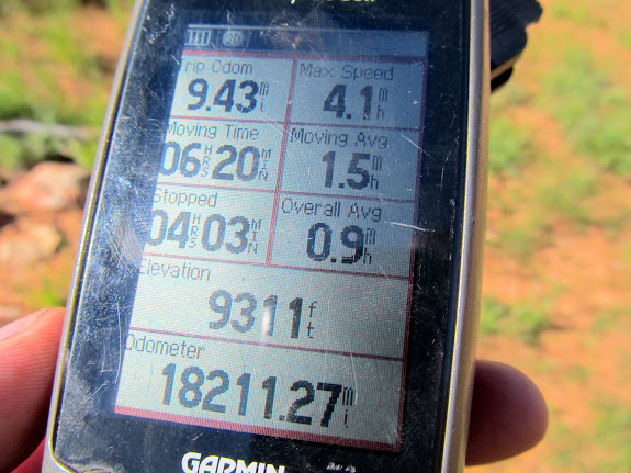 GPS stats at the end of the hike