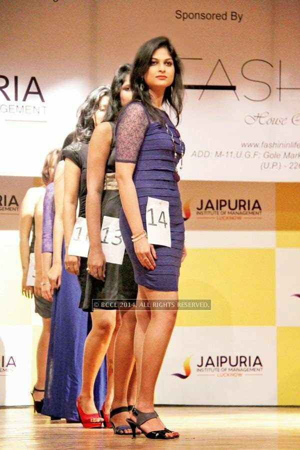 All in the queue, girls pose during the fashion show, held at a Management institute, in the city.<br />