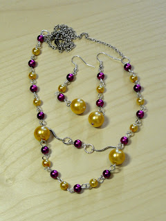 biżuteria z półfabrykatów - fiolet z różem (komplet)