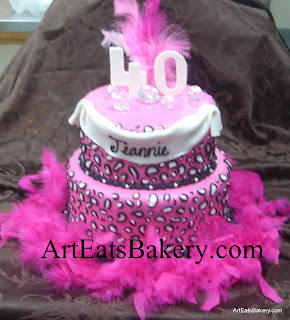 Two tier pink, white and black leopard print lady's 40th birthday cake with diamonds, 40 topper and feathers