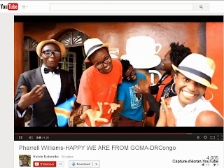 "Capture d'écran YouTube du clip des jeunes de Goma inspiré de ""Happy"" de Pharell Williams (Juin 2014)"