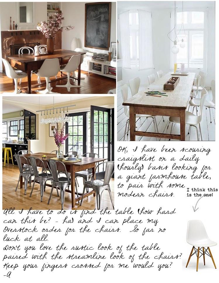 Pinecone farmhouse table & modern chairs