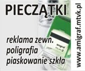 Amigraf II pieczatki, wydruki wielkoformatowe szyldy banery poligrafia piaskowanie szkła projekty Marzena Ostrowska Arctia