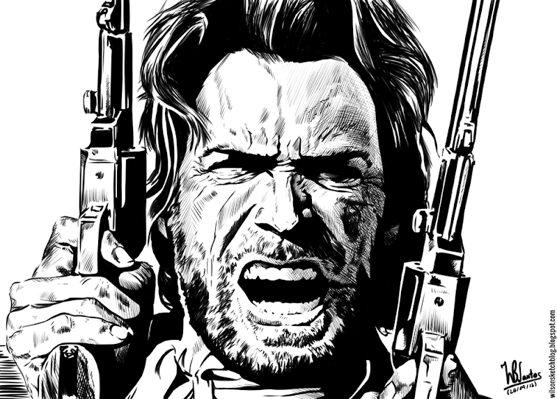 Ink drawing of The Outlaw Josey Wales, using Krita 2.4.