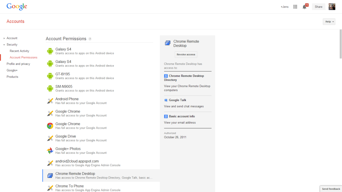 Google Account Permissions