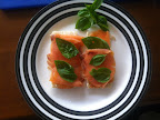 Smoked salmon, cream cheese and basil on a crispy cruskit