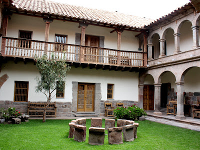 Courtyard of the Inkaterra La Casona hotel in Cuzco Peru
