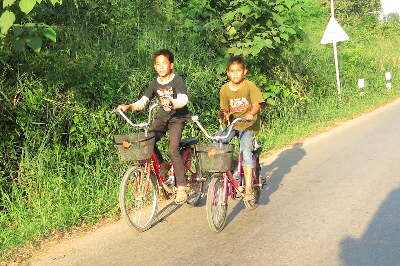 Two boys on bikes