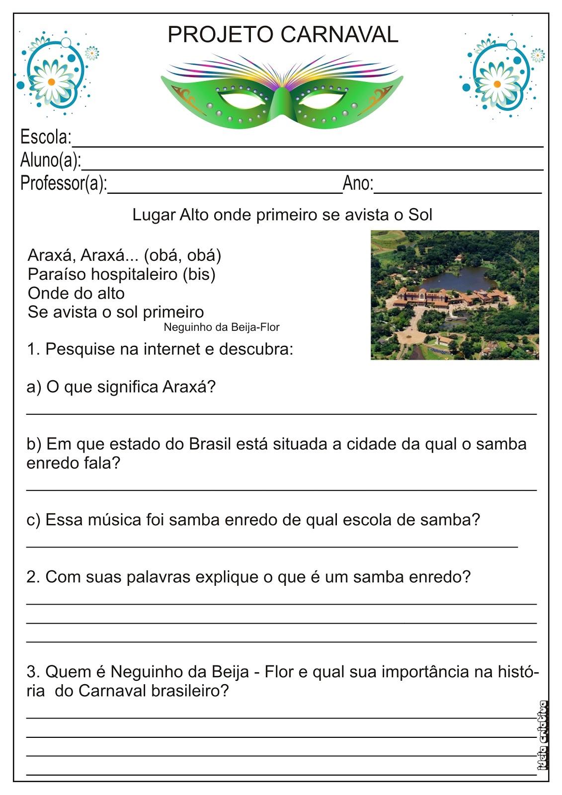 Atividade Samba Enredo - Projeto Carnaval 2º Ano