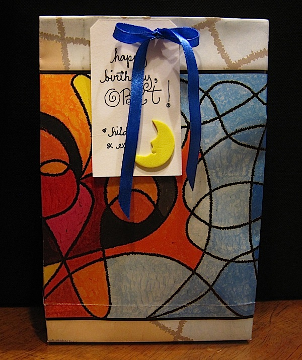 gift bag made out of calendar paper