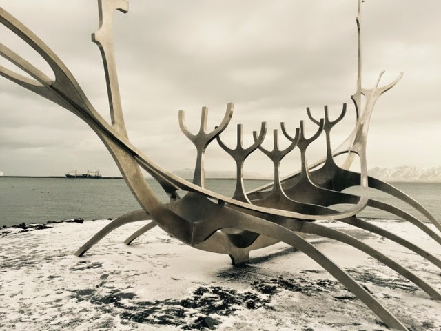 viking boat sculpture, Solfar meaning Sun Voyager