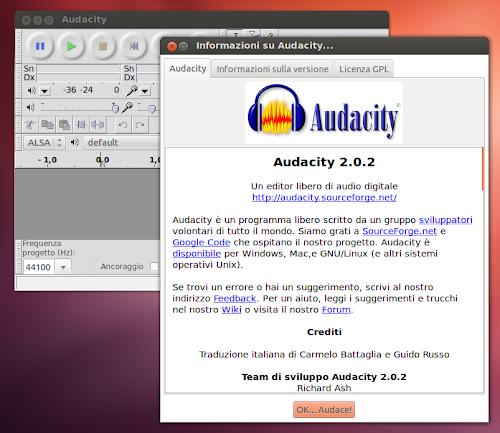 Audacity 2.0.2 su Ubuntu
