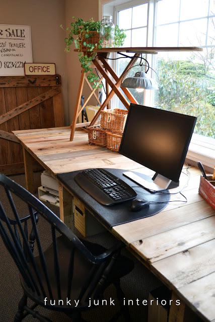 How to build a Farm Table Desk Part 3 - the reveal! Learn how to build this large 12 foot rustic office desk from free wood using pallet wood, fence planks and 2x4s. All for free!