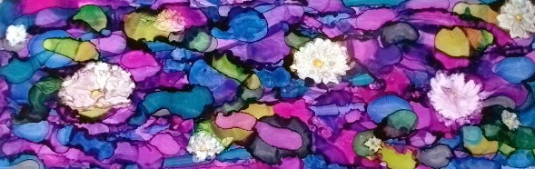 """""""Waterlilies III"""" by Sherry Salant. Alcohol Ink. $100.00"""