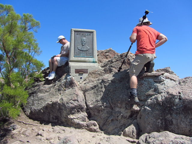 Mt. Allen on the plaque at the top of Sandstone Peak