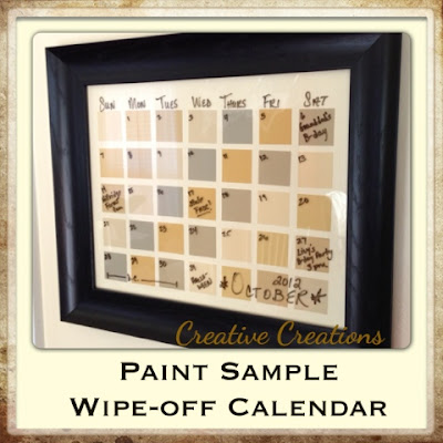 Creative Creations Paint Sample Wipe Off Calendar