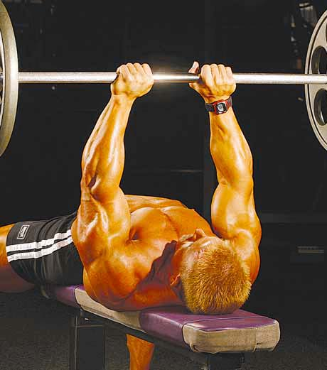 BODYBUILDING ROUTINES : FULL BODY : LYING BARBELL FRENCH PRESS