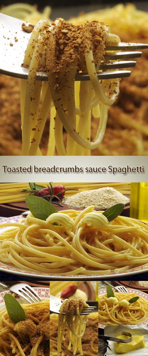 Stock Photo: Toasted breadcrumbs sauce Spaghetti