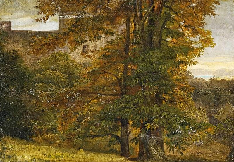 Johann Wilhelm Schirmer - Oberitalienische Landschaft mit Ausblick auf einen See