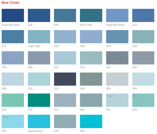 Color Chart Blue Green