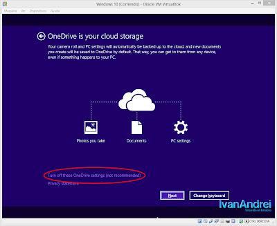 Instalación de Windows 10 - VirtualBox - Activar o desactivar OneDrive