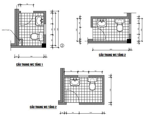 Cầu thang wc tầng 1 và tầng 2