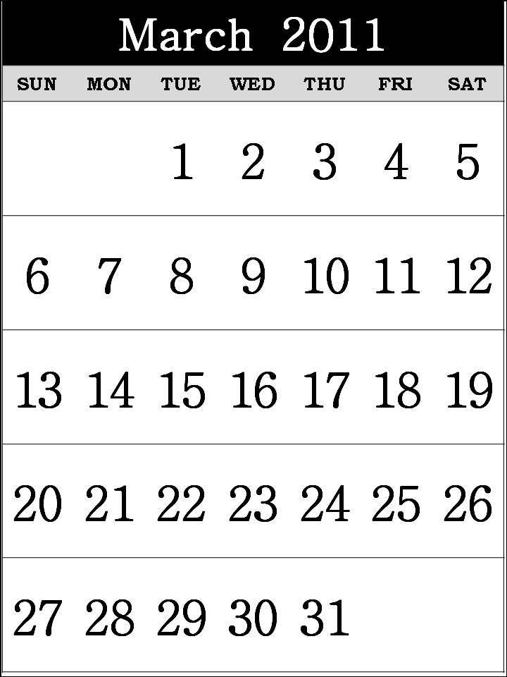 printable calendars for march 2011. Free Printable Calendar 2011