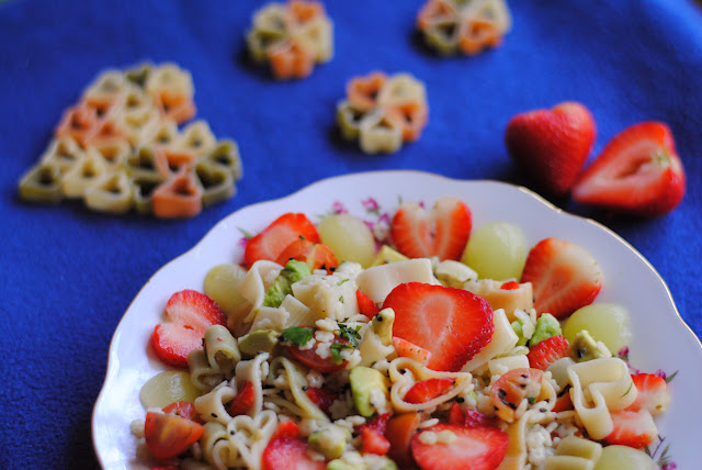 warm honey heart pasta salad recipe with strawberry grape avocado cilantro by ServicefromHeart
