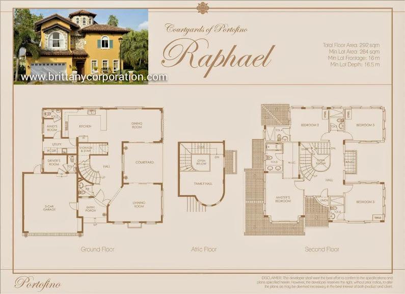 Floor Plan of Raphael Model - Portofino Alabang   House and Lot for Sale Daang Hari Las Pinas