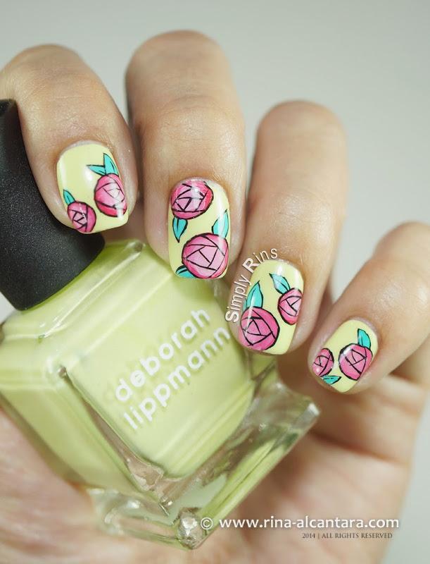 Paper Roses Nail Art on Deborah Lippmann Spring BUds
