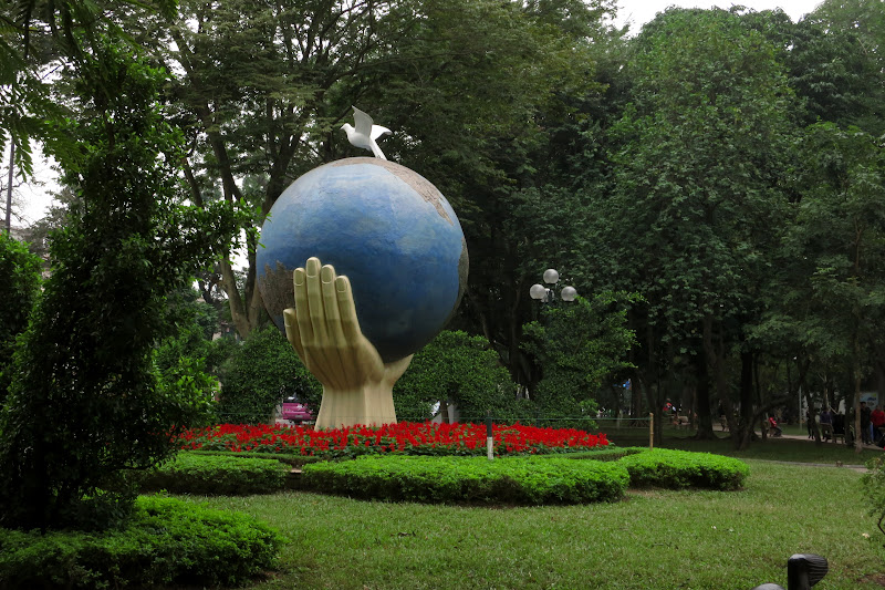 Peace sculpture at Hoàn Kiếm lake