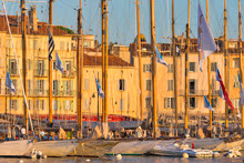 St Tropez harbour at sunset
