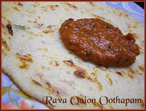 Rava Onion Oothapam & Tomato Chutney