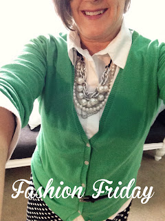 Kelly Green Cardigan with black and white polka dot skirt, Fashion Friday