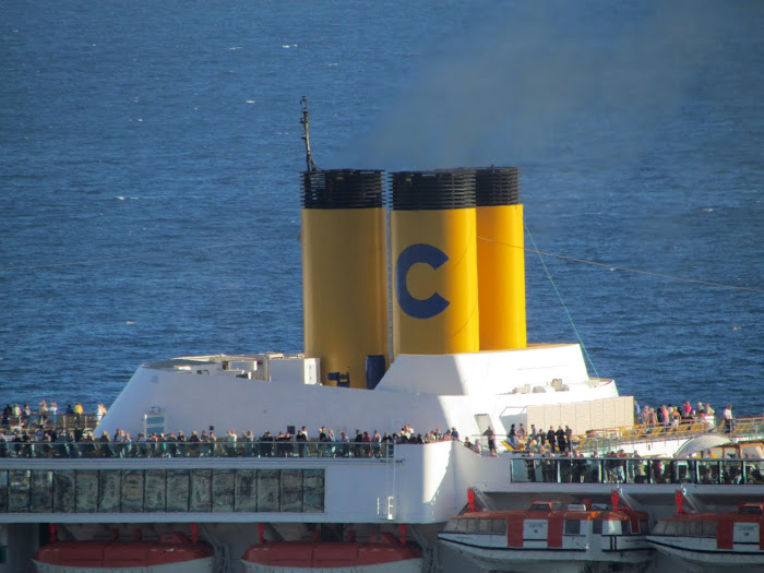 Costa cruise with the distinctive yellow chimneys