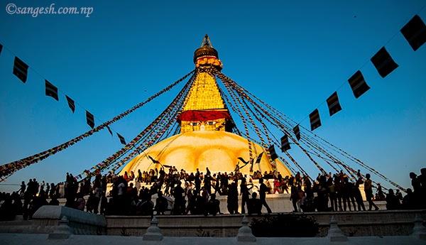 Boudha Nath stupa and prayer flags
