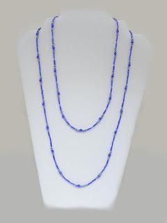 "Graceful Flow - Alternatig light & dark blue Crystals and Glass beads  $25""  $24"