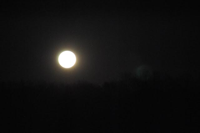 bright moon on the horizon