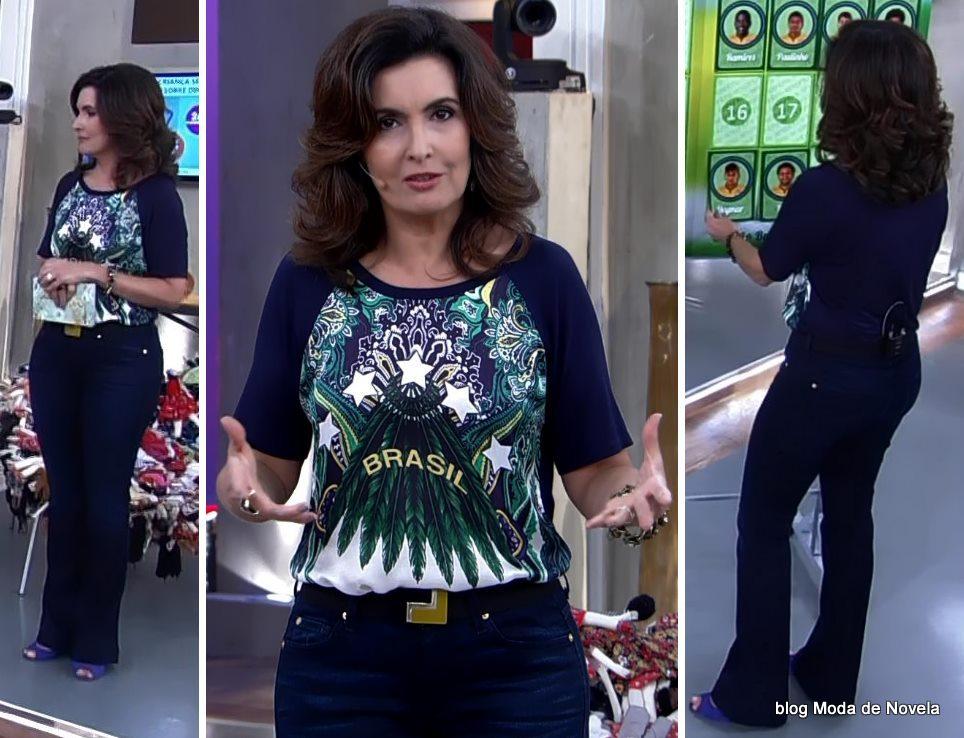 moda do programa Encontro - look da Fatima Bernrdes dia 7 de maio