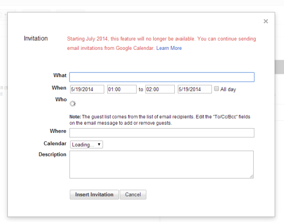 GMail Calendar Invite
