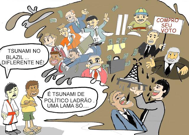 Resultado de imagem para O tsunami da corrupção: charges