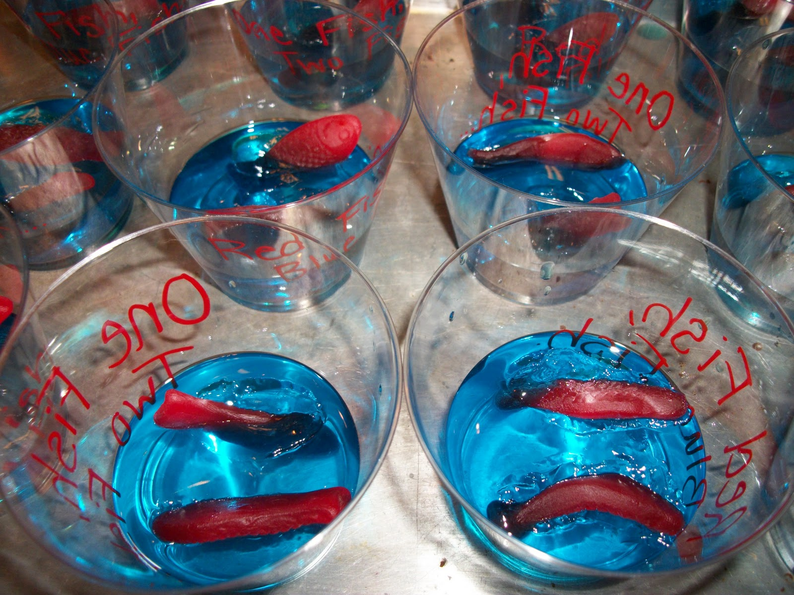 Two plus jilly happy birthday dr seuss for Plastic fish bowls dollar tree