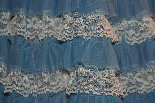 blue skirt with lace details