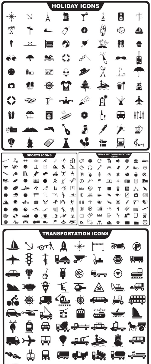 Stock: Vector illustration of set of  icon